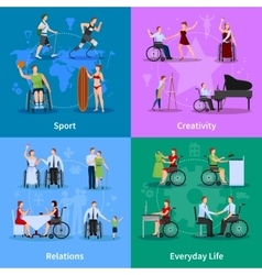 Disabled People 4 Flat Icons Square vector image