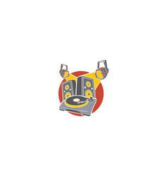 dj turntable logo icon vector image