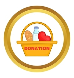 Donation box with food icon vector