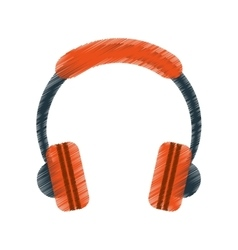 drawing orange headphones music listen mobile vector image
