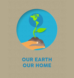 earth day paper cut nature plant and text quote vector image