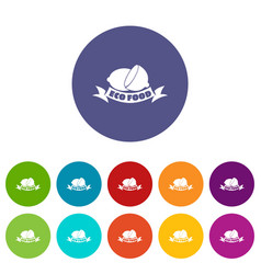eco food icons set color vector image