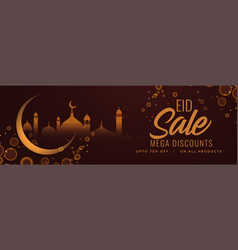 Eid festival sale banner with moon and mosque vector