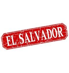 El Salvador red square grunge retro style sign vector