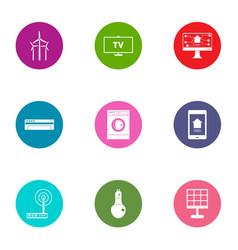 Energy change icons set flat style vector