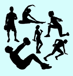 fitness and gymnastic teenager people sport silhou vector image