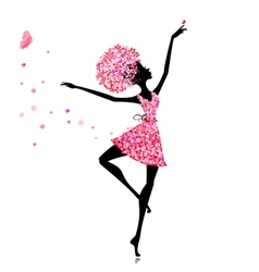 Flower girl ballerina vector