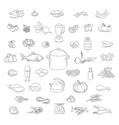 Food doodle icons set vector image