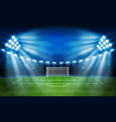 Football arena field with bright stadium lights vector