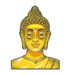 Four eyes buddha golden statue sketch vector