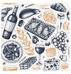 French food vintage backdrop hand drawn wine vector