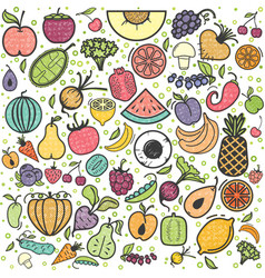 fruits and vegetables pattern vegetarian set vector image