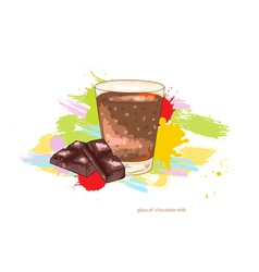 Glass of chocolate milk vector