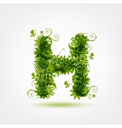 Green eco letter H for your design vector image