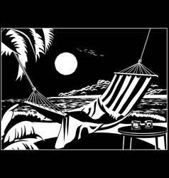hammock on the tropical beach vector image
