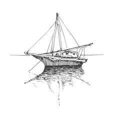Hand drawn boat landscape eps8 vector