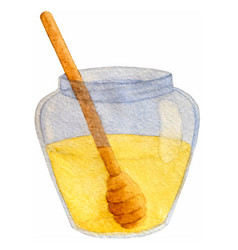 Hand drawn watercolor honey jar isolated vector