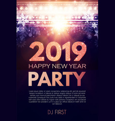 Happy new 2019 year party poster template with vector