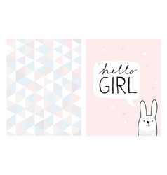Hello girl hand drawn card and irregular pattern vector