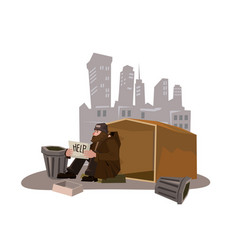 Homeless man with paper sign cartoon style vector