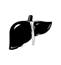 Human liver icon in black style isolated on white vector image