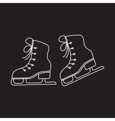 Ice skates line isolated vector image
