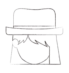 Isolated girl head with hat design vector