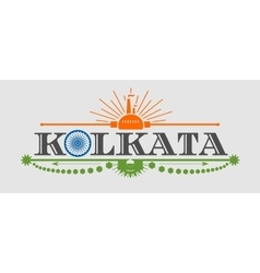 Kolkata city name with flag colors styled letter O vector image