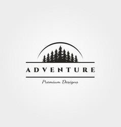 Landscape pine tree logo minimalist with sun vector