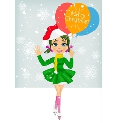 Little girl holding balloons with merry christmas vector