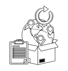 location pointer icon in black and white vector image