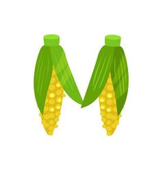 M veggie vegetable english alphabet letter made vector