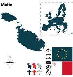 Malta and European Union map vector image