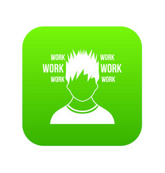 man and work words icon digital green vector image
