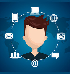 man with social network icons vector image