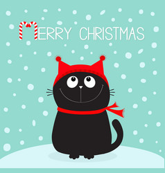 Merry christmas candy cane text black cat kitten vector