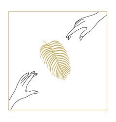 Modern line art woman hands palm leaf vector