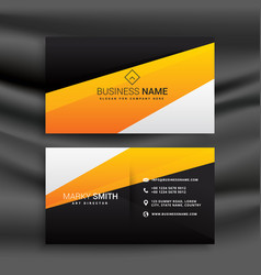 modern yellow and black business card with clean vector image
