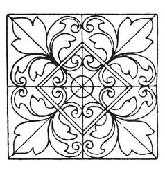 Moorish tiles square panel have four big flowers vector