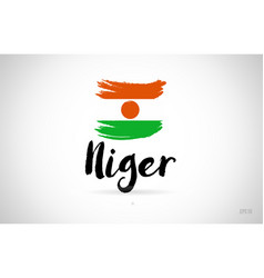 Niger country flag concept with grunge design vector