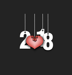 numbers 2018 and heart on strings vector image