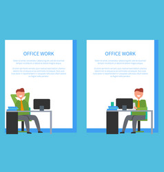 office workers sitting on chairs in front of table vector image