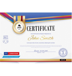 Official white certificate with red violet ribbons vector