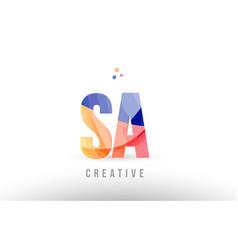 Orange blue alphabet letter sa s a logo icon vector