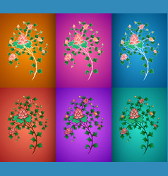 ornamental flowers composition vector image