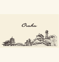 Osaka skyline japan hand drawn city sketch vector