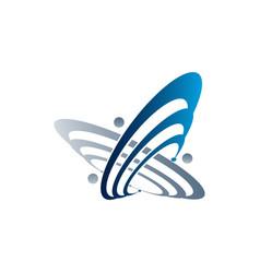 Planet and orbit logo fushion logo satellite logo vector