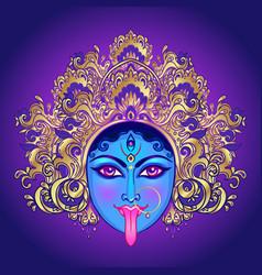 Portrait indian hindi goddess kali female blue vector