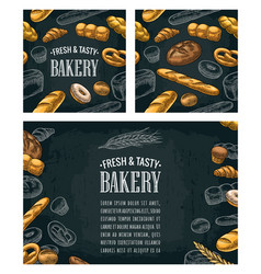 poster and seamless pattern with bread vector image