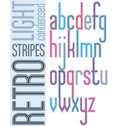 Poster bright retro condensed font striped compact vector